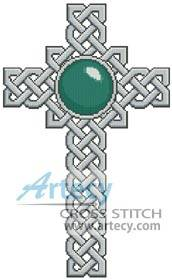 cross stitch pattern Celtic Cross March  Aquamarine