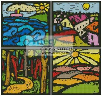 cross stitch pattern Colourful Landscape Sampler