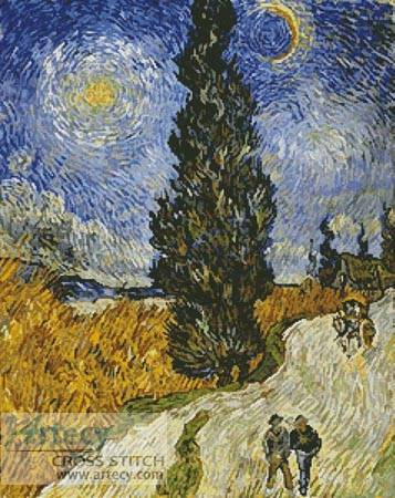 cross stitch pattern Country Road in Provence