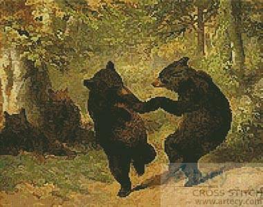 cross stitch pattern Dancing Bears