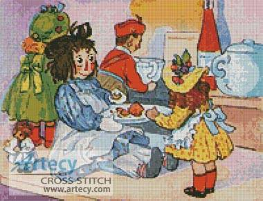 cross stitch pattern Dolls Tea Time