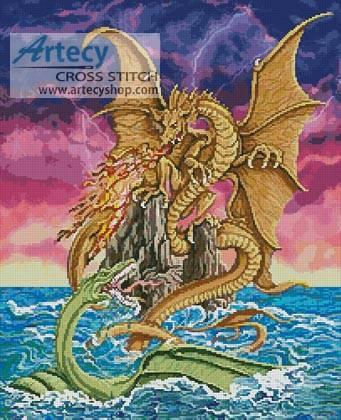 cross stitch pattern Dragon Battle