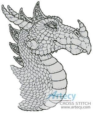 cross stitch pattern Dragon Profile