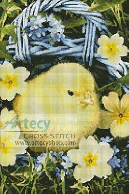 cross stitch pattern Easter Chick in Basket