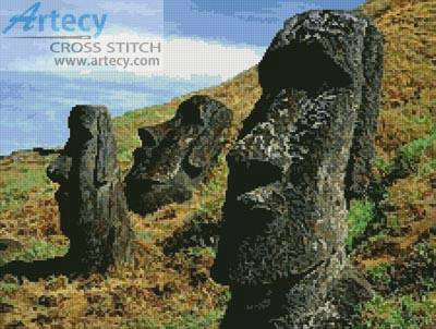 cross stitch pattern Easter Island