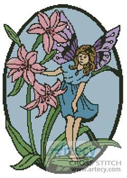 cross stitch pattern Fairy Oval