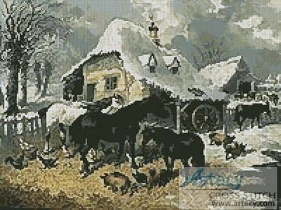 cross stitch pattern A Farmyard in Winter
