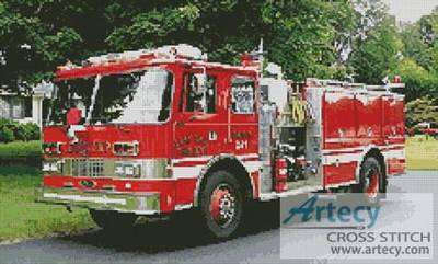 cross stitch pattern Fire Engine