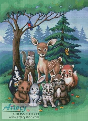cross stitch pattern Forest Family