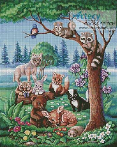 cross stitch pattern Forest Friends