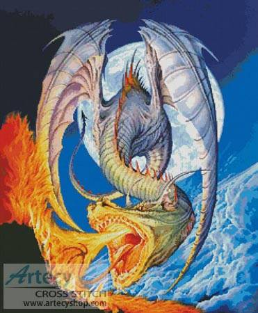 cross stitch pattern Fire Dragon