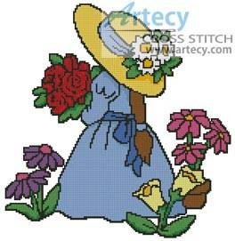 cross stitch pattern Flower Girl