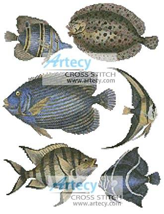 cross stitch pattern Butterfly Fish and Flounder