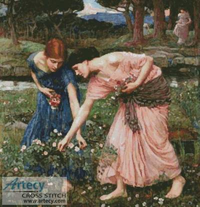 cross stitch pattern Gather Ye Rosebuds While Ye May