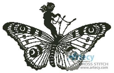 cross stitch pattern Girl Riding a Butterfly