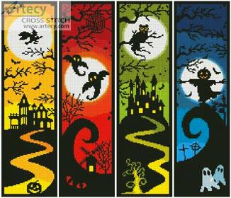 cross stitch pattern Halloween Banners