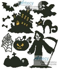 cross stitch pattern Halloween Motifs 2