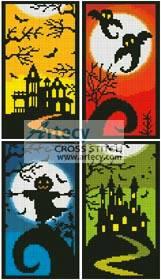 cross stitch pattern Halloween Sampler