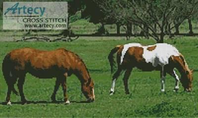 cross stitch pattern Horses Photo