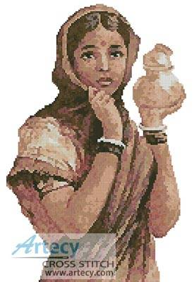 cross stitch pattern Indian Milkmaid
