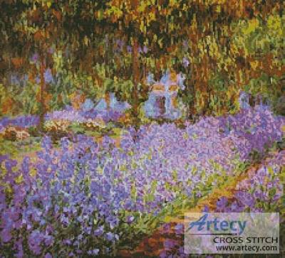 cross stitch pattern The Irises in Monet's Garden
