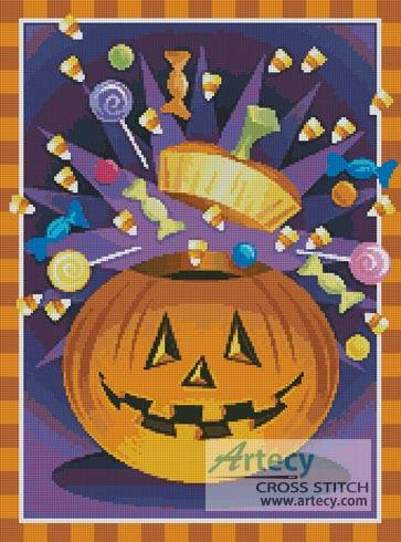 cross stitch pattern Jack O' Lantern