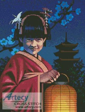 cross stitch pattern Japanese Girl