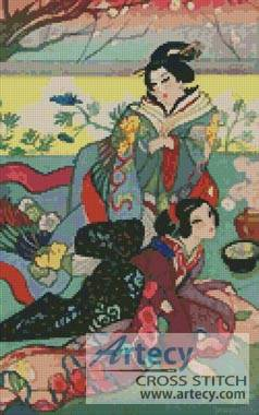 cross stitch pattern Japanese Ladies
