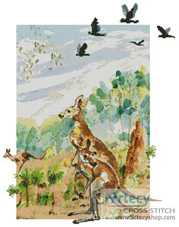 cross stitch pattern Kangaroo
