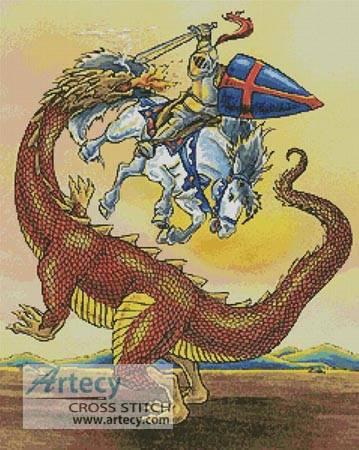 cross stitch pattern Knight and Dragon