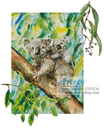 cross stitch pattern Koala Painting