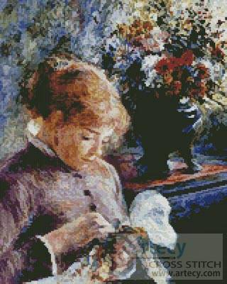cross stitch pattern Lady Sewing