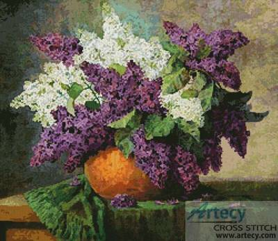 cross stitch pattern Lilacs