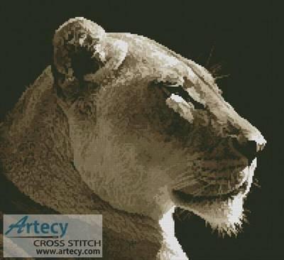 cross stitch pattern Lioness Profile