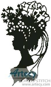 cross stitch pattern Lady Silhouette 6