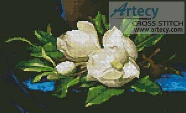 cross stitch pattern Giant Magnolias on Blue Velvet