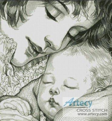 cross stitch pattern Mother Holding Baby (Sepia)