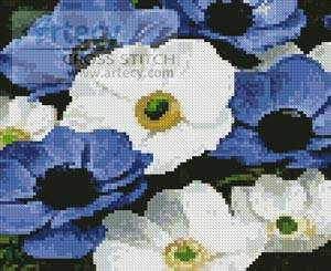 cross stitch pattern Mini Blue and White Flowers