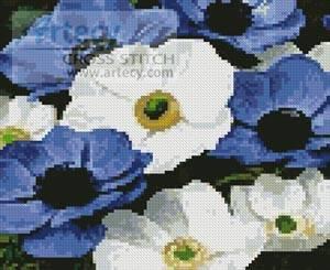 cross stitch pattern Mini Blue and White Flowers