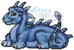 cross stitch pattern Mini Cute Dragon (Blue)