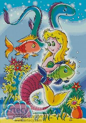cross stitch pattern Mermaid with Fish and Eels