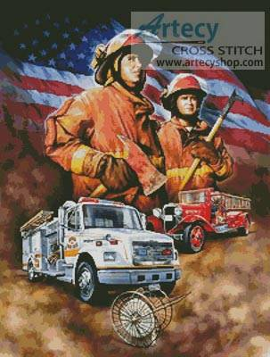 cross stitch pattern Fireman