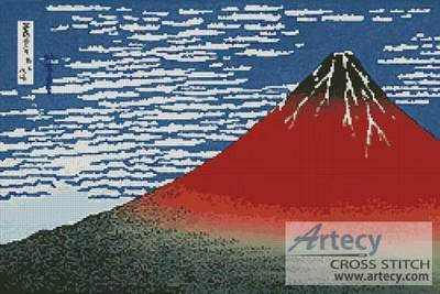 cross stitch pattern Mount Fuji in Clear Weather