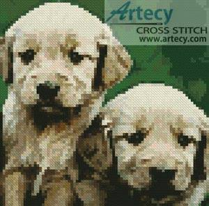 cross stitch pattern Mini Golden Retriever Puppies
