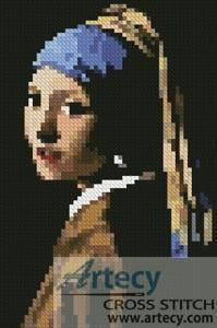 cross stitch pattern Mini Girl with a Pearl Earring