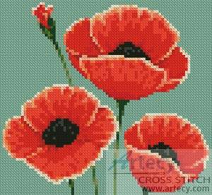 cross stitch pattern Mini Poppies