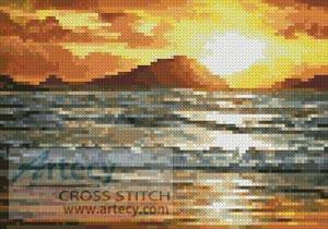 cross stitch pattern Mini Island Sunset