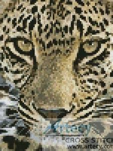 cross stitch pattern Mini Leopard Close up