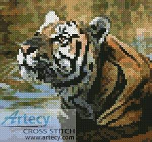 cross stitch pattern Mini Bengal Tiger