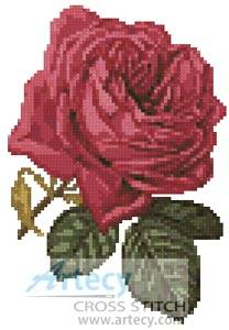 cross stitch pattern Mini Pink Rose